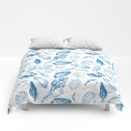 Tropical underwater creatures in blue and white Comforters