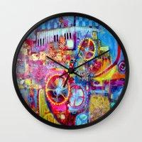 steam punk Wall Clocks featuring Steam Punk Music Box  by SharlesArt