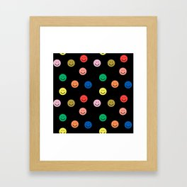 Smiley faces black happy simple rainbow colors pattern smile face kids nursery boys girls decor Framed Art Print