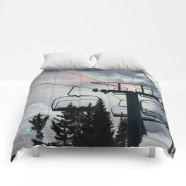 4 Seat Chair Lift Rainbow Sky \\ The Mountain Sun Rays \\ Spring Skiing Colorado Winter Snow Sports Comforters