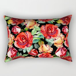 Hand painted black red watercolor roses floral Rectangular Pillow