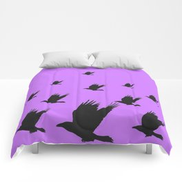 FLYING FLOCK BLACK CROWS/RAVENS ON LILAC COLOR Comforters