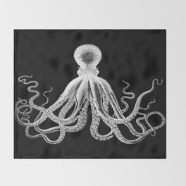 Octopus | Black and White Throw Blanket