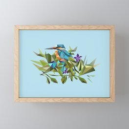 Common Kingfisher (halcyon) in Triangles Framed Mini Art Print