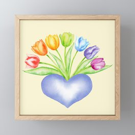 Rainbow Tulips with Heart, Yellow Background Framed Mini Art Print
