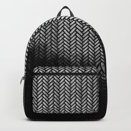 Textured Silver-grey and black Herringbone ombre - Japanese pattern Backpack
