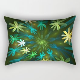 Fantasy Flowers, Fractal Art Rectangular Pillow