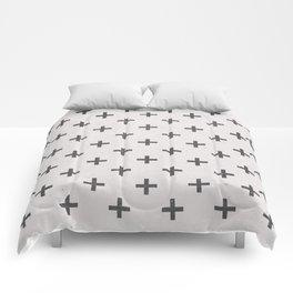 Geometric Cross Modern Charcoal Vintage Grunge Pattern Comforters