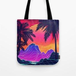 Neon glowing grid rocks and palm trees, futuristic landscape design Tote Bag