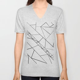 Modern abstract black white geometrical triangles Unisex V-Neck