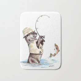 """ Natures Fisherman "" fishing river otter with trout Bath Mat"