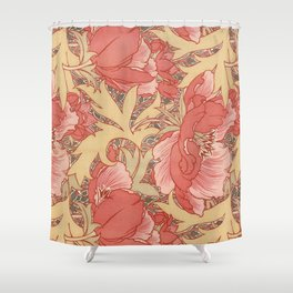 William Morris Poppies Floral Art Nouveau Pattern Shower Curtain