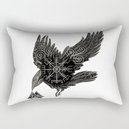 Norse Raven & Rune Rectangular Pillow