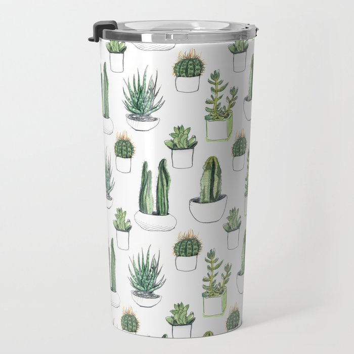 Watercolour Cacti & Succulents Travel Mug