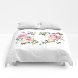 Watercolor Rose Heart Wreath Comforters