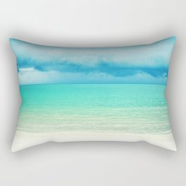 Blue Turquoise Tropical Sandy Beach Rectangular Pillow