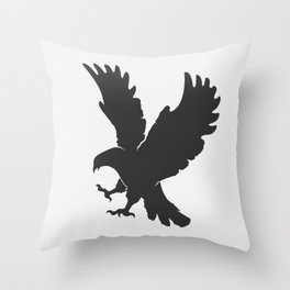 vector silhouette flying eagle on a white background Throw Pillow