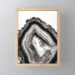 Agate Rose Gold Glitter Glam #4 #gem #decor #art #society6 Framed Mini Art Print