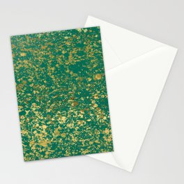 Ultramarine Green and Gold Patina Design Stationery Cards