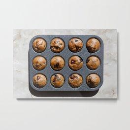 Chocolate muffins on table. Metal Print