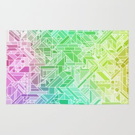 Bright Gradient (Violet Purple Lime Green Neon Yellow) Geometric Pattern Print Rug