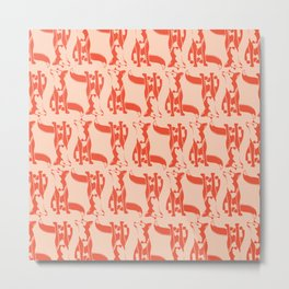 Curious Fox Pattern Metal Print