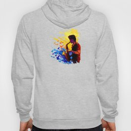 Colorful music player with flying birds.Musician portrait, saxophonist performance Hoody