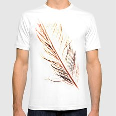 Peacock Feather 1 White MEDIUM Mens Fitted Tee