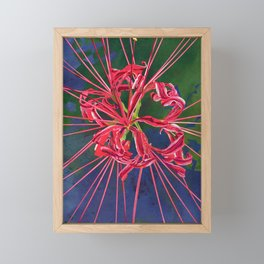 Red Spider Lily Watercolor Floral Art Framed Mini Art Print