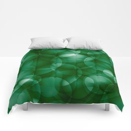 Dark intersecting green translucent circles in bright colors with a grassy glow. Comforters