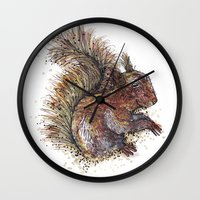 beaver Wall Clocks featuring Squirrel Beaver by Faustine BLESSON