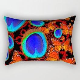 Monarch Butterflies Blue Peacock Eyes Collage Rectangular Pillow