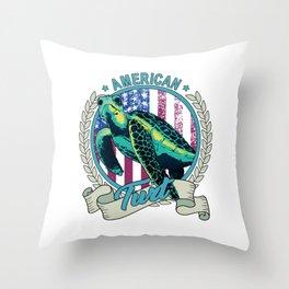American Turt Patriotic Turtle Throw Pillow