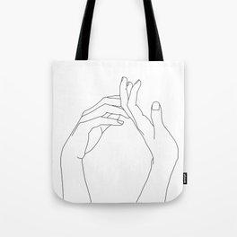Hands line drawing illustration - Abi Tote Bag