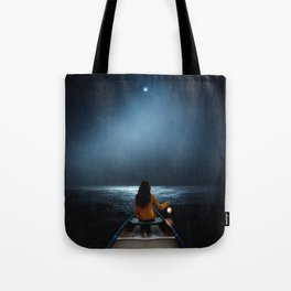 Woman in a boat in the ocean at night-Lantern Lights Tote Bag