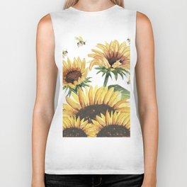 Sunflowers and Honey Bees Biker Tank
