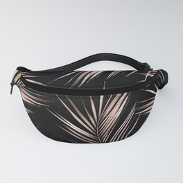 Rosegold Palm Tree Leaves on Midnight Black Fanny Pack