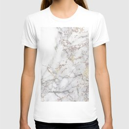 Champagne Rose Gold Blush Metallic Glitter Foil On Gray Marble T-shirt