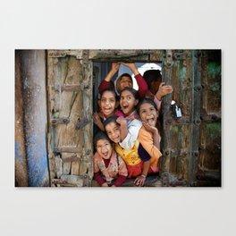 School kids in door Canvas Print