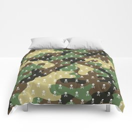 CAMO & WHITE SKULLS ALL OVER PRINT LARGE Comforters