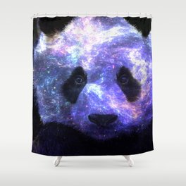 Galaxy Panda Space Colorful Shower Curtain