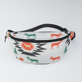 Deer in red and green Fanny Pack