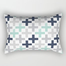 Swiss cross pattern minimal nursery basic grey and white camping cabin chalet decor Rectangular Pillow