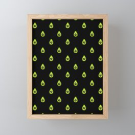 Avocado Hearts (black background) Framed Mini Art Print