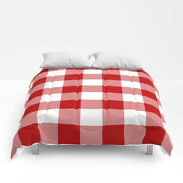 Red and White Buffalo Check Comforters