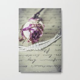 love letter with pearls and rose Metal Print