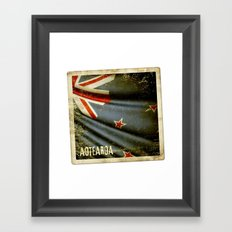 Grunge sticker of New Zealand flag Framed Art Print