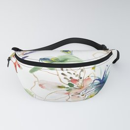 Loose lilies and blue flowers Fanny Pack