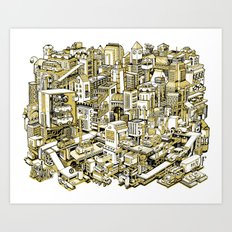 City Machine - Gold Art Print