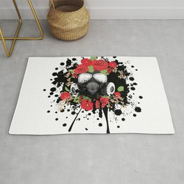 Gas Mask with Red Roses Rug